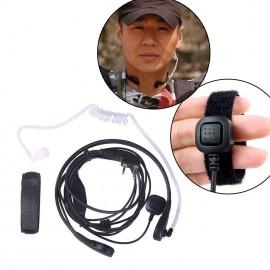2Pin PTT Throat Mic Covert Acoustic Tube Earpiece Headset for Baofeng UV-5R